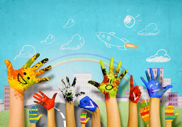 Kuvassa on erilaisia värikkäiksi maalattuja käsiä.