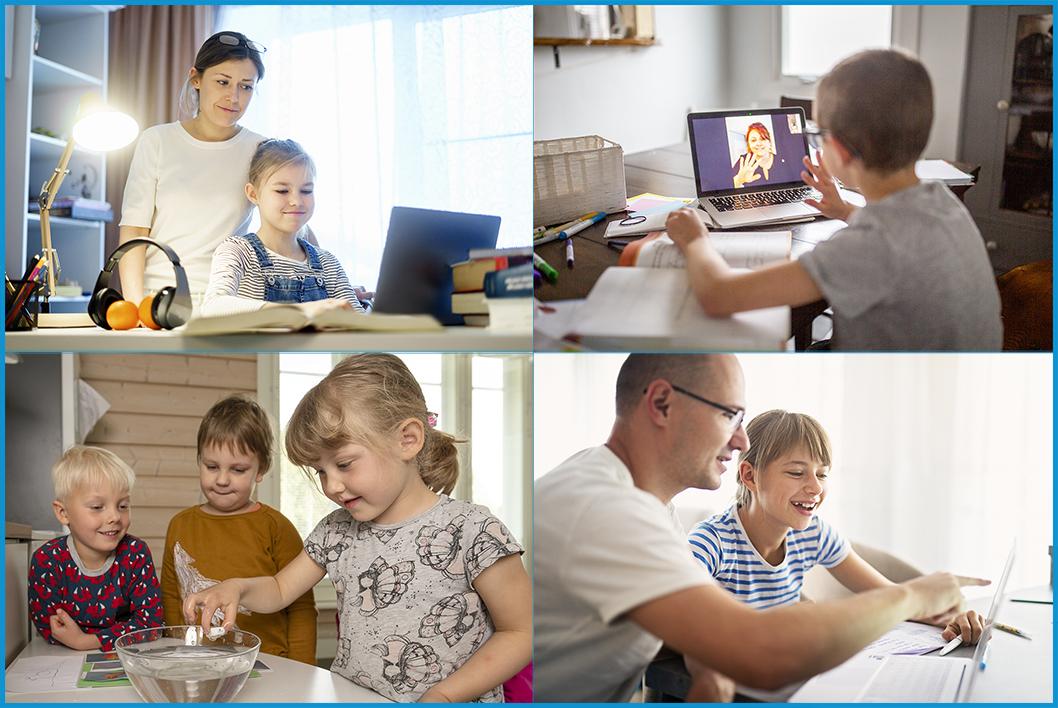 Kuva on kollaasi neljästä eri etätyökuvasta: Ensimmäisessä kuvassa äiti auttaa tyttöä kotitehtävissään tietokoneella. Toisessa kuvassa poika keskustelee etäyhteyksin opettajansa kanssa. Kolmannessa kuvassa kolme päiväkoti-ikäistä lasta tutkivat vesimaljaa. Neljännessä kuvassa isä auttaa tyttöä koulutöissä tietokoneella.